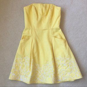 lily pulitzer yellow embroidered blossom dress